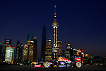 Infiniti Red Bull Racing RB10 car is photographed against the Shanghai's iconic skyline on April 11, 2014 in Shanghai, China. Photo by Victor Fraile / Power Sport Images