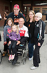 Calgary, AB - June 5 2014 - Dennis Thiessen with a family during the Celebration of Excellence Heroes Tour visit to Ronald McDonald House in Calgary. (Photo: Matthew Murnaghan/Canadian Paralympic Committee)