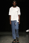 Model Aly walks runway in an outfit from the Linder Spring Summer 2017 collection by Sam Linder and Kirk Millar on July 11 2016, during New York Fashion Week Men's Spring Summer 2017.