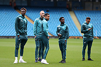 Swansea City players inspect the pitch prior to the Premier League match between Manchester City and Swansea City at the Etihad Stadium, Manchester, England, UK. Sunday 22 April 2018