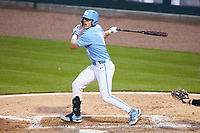 Danny Serretti (1) of the North Carolina Tar Heels follows through on his swing against the South Carolina Gamecocks at Truist Field on April 6, 2021 in Charlotte, North Carolina. (Brian Westerholt/Four Seam Images)