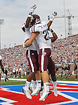 Texas A&M Aggies tight end Nehemiah Hicks (81) and Texas A&M Aggies wide receiver Ryan Swope (25) in action during the game between the Southern Methodist Mustangs and the Texas A&M Aggies at the Gerald J. Ford Stadium in Dallas, Texas. Texas A & M defeats SMU 48 to 3.