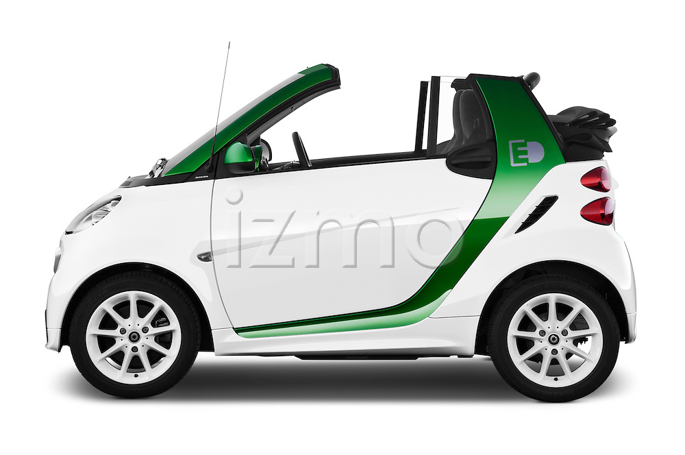 Car Driver side profile view of a 2016 Smart fortwo electric 2 Door Convertible Side View