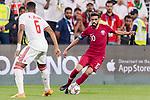 Hasan Al Haydos of Qatar (R) in action during the AFC Asian Cup UAE 2019 Semi Finals match between Qatar (QAT) and United Arab Emirates (UAE) at Mohammed Bin Zaied Stadium  on 29 January 2019 in Abu Dhabi, United Arab Emirates. Photo by Marcio Rodrigo Machado / Power Sport Images