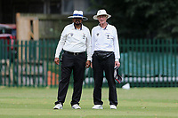 The umpires during Barking CC (batting) vs Hornchurch Athletic CC, Hamro Foundation Essex League Cricket at Mayesbrook Park on 31st July 2021