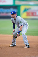 Bluefield Blue Jays first baseman Levi Scott (34) on defense against the Burlington Royals at Burlington Athletic Stadium on June 27, 2016 in Burlington, North Carolina.  The Royals defeated the Blue Jays 9-4.  (Brian Westerholt/Four Seam Images)