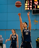 Catherine Carr of Sevenoaks Suns with a free-throw during the WBBL Championship match between Sevenoaks Suns and Newcastle Eagles at Surrey Sports Park, Guildford, England on 20 March 2021. Photo by Liam McAvoy