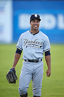 Staten Island Yankees Dom Thompson-Williams (54) during warmups before a game against the Batavia Muckdogs on August 27, 2016 at Dwyer Stadium in Batavia, New York.  Staten Island defeated Batavia 13-10 in eleven innings.  (Mike Janes/Four Seam Images)