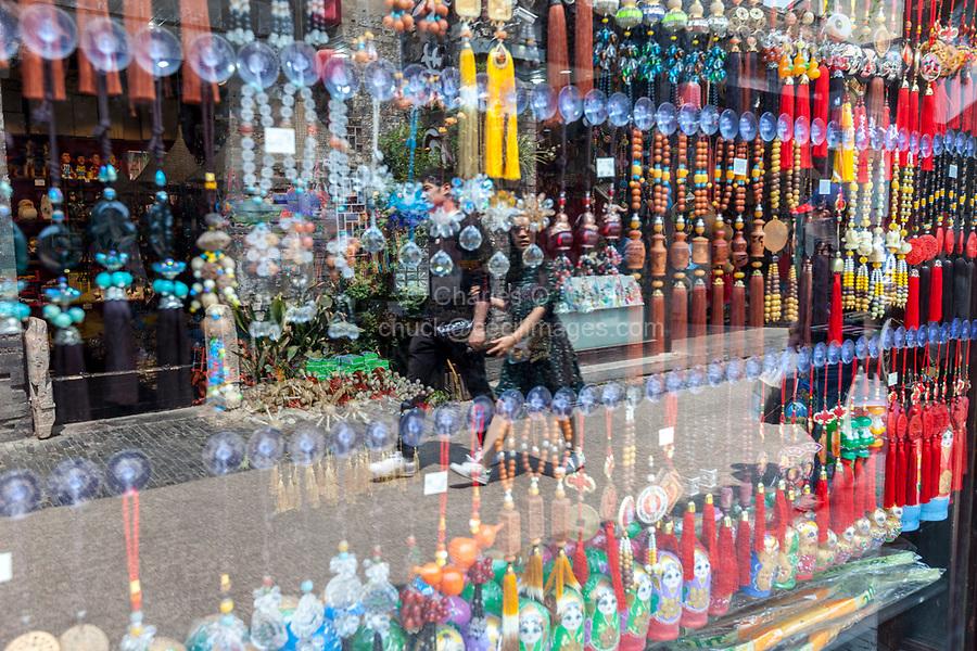 Yangzhou, Jiangsu, China.  Dong Guan Street, Reflections in a Store Window.