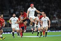 James Haskell of England clashes with Brice Dulin of France - 15/08/2015 - Twickenham Stadium - London <br /> Mandatory Credit: Rob Munro/Stewart Communications