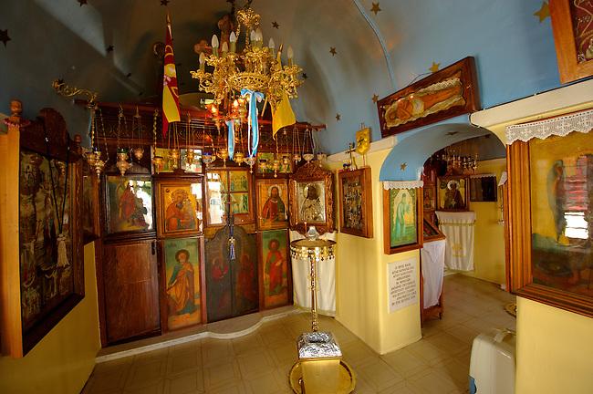 Interior of traditional Greek Orthodox church, Chora, Mykonos, Cyclades Islands, Greece.