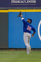 Iowa Cubs outfielder Darnell McDonald (16) makes a running catch against the Round Rock Express in the Pacific Coast League baseball game on July 21, 2013 at the Dell Diamond in Round Rock, Texas. Round Rock defeated Iowa 3-0. (Andrew Woolley/Four Seam Images)