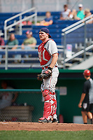 Auburn Doubledays catcher Nic Perkins (43) during a game against the Batavia Muckdogs on September 1, 2018 at Dwyer Stadium in Batavia, New York.  Auburn defeated Batavia 10-5.  (Mike Janes/Four Seam Images)