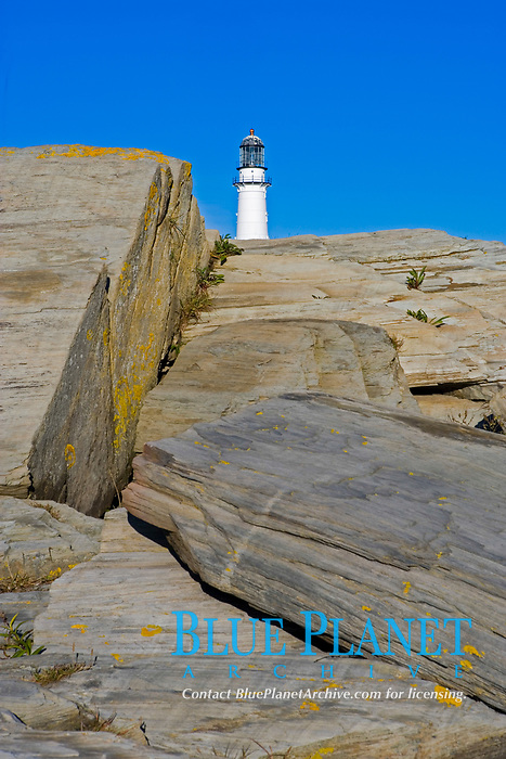 Cape Elizabeth, ME, lighthouse at Two Lights State Park, taken from the rocks at Dyer Cove