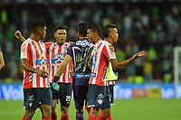 MEDELLÍN-COLOMBIA, 05–06-2019: Jugadores de Atlético Junior, celebran la clasificación a la final de la Liga Aguila I, al final de partido de la fecha 16 de los cuadrangulares semifinales entre Atlético Nacional y Atlético Junior, por la Liga Águila I-2019, jugado en el estadio Atanasio Girardot de la ciudad de Medellín. / Players of Atletico Junior, celebrate the classification to the final of the Aguila I League, at the end of the match of the date 16 of the semifinals between Atlético Nacional and Atlético Junior, by the Liga Águila I-2019, played in the Atanasio Girardot stadium in Medellin city./ Photo: VizzorImage / León Monsalve / Cont.