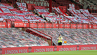 General view of the flags and banners in the Main Stand at Brentford FC during Brentford vs Wigan Athletic, Sky Bet EFL Championship Football at Griffin Park on 4th July 2020