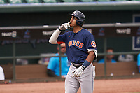 Houston Astros Jeremy Peña (89) celebrates hitting a home run during a Major League Spring Training game against the Miami Marlins on March 21, 2021 at Roger Dean Stadium in Jupiter, Florida.  (Mike Janes/Four Seam Images)