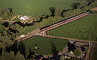 aerial photograph of the Napa Valley Wine Train, Napa Valley, California