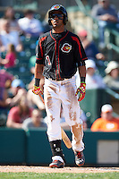 Rochester Red Wings outfielder Eddie Rosario (1) at bat during a game against the Norfolk Tides on May 3, 2015 at Frontier Field in Rochester, New York.  Rochester defeated Norfolk 7-3.  (Mike Janes/Four Seam Images)