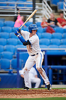 Dunedin Blue Jays catcher Riley Adams (23) at bat during a game against the Lakeland Flying Tigers on July 31, 2018 at Dunedin Stadium in Dunedin, Florida.  Dunedin defeated Lakeland 8-0.  (Mike Janes/Four Seam Images)
