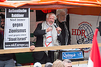 """Ca. 1000 Menschen protestierten am Samstag den 11. Juli 2015 in Berlin mit einer Demonstration anlaesslich des anti-israelischen Al Quds-Tag. Sie riefen Parolen wie """"Kindermoerder Israel"""" und """"Israel raus aus Palaestina"""".<br /> Am sogenannten Al Quds-Tag protestieren weltweit Muslime gegen die Besetzung der palaestinensischen Gebiete durch Israel.<br /> Etwa 2050 bis 300 Menschen protestierten gegen die Demonstration.<br /> Im Bild: Juergen Grassmann, Veranstalter der Al Quds- Demonstration von der Quds AG.<br /> 11.7.2015, Berlin<br /> Copyright: Christian-Ditsch.de<br /> [Inhaltsveraendernde Manipulation des Fotos nur nach ausdruecklicher Genehmigung des Fotografen. Vereinbarungen ueber Abtretung von Persoenlichkeitsrechten/Model Release der abgebildeten Person/Personen liegen nicht vor. NO MODEL RELEASE! Nur fuer Redaktionelle Zwecke. Don't publish without copyright Christian-Ditsch.de, Veroeffentlichung nur mit Fotografennennung, sowie gegen Honorar, MwSt. und Beleg. Konto: I N G - D i B a, IBAN DE58500105175400192269, BIC INGDDEFFXXX, Kontakt: post@christian-ditsch.de<br /> Bei der Bearbeitung der Dateiinformationen darf die Urheberkennzeichnung in den EXIF- und  IPTC-Daten nicht entfernt werden, diese sind in digitalen Medien nach §95c UrhG rechtlich geschuetzt. Der Urhebervermerk wird gemaess §13 UrhG verlangt.]"""