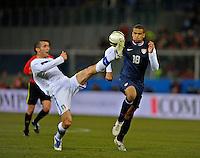 GENOVA, ITALY - February 29, 2012: Giorgio Chiellini (l, ITA), Terrence Boyd (r, USA) during the USA friendly match against Italy at the Stadium Luigi Ferraris in Genova, Italy.