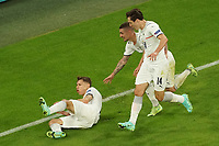 2nd July 2021; Allianz Arena, Munich, Germany; European Football Championships, Euro 2020 quarterfinals, Belgium versus Italy;  Goal celebration from Nicolo Barella Italy for 1-0  with Marco Verratti