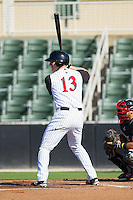 Carl Thomore (13) of the Kannapolis Intimidators at bat against the Hickory Crawdads at CMC-Northeast Stadium on May 4, 2014 in Kannapolis, North Carolina.  The Intimidators defeated the Crawdads 3-1.  (Brian Westerholt/Four Seam Images)