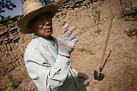A farmer takes a break from working in his field in Hebei Province, China. Desertification is the process by which fertile land becomes desert, typically as a result of drought, deforestation, or inappropriate agriculture. 41 % of China's landmass in classified as arid or desert. Inappropriate farming methods and over cultivation have contributed to the spreading of deserts in China in recent years.