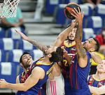 FC Barcelona's Leo Westermann (l) and Adam Hanga during Liga Endesa ACB 1st Final match. June 13,2021. (ALTERPHOTOS/Acero)