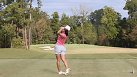 CHAPEL HILL, NC - OCTOBER 13: Yukie Sasaki of the Ohio State University tees off at UNC Finley Golf Course on October 13, 2019 in Chapel Hill, North Carolina.