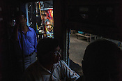 Passengers on a Calcutta Tram in Kolkata, West Bengal, India,