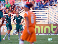 Saint Louis Athletica forward Angie Woznuk (11) and Saint Louis Athletica midfielder Lori Chalupny (17) during a WPS match at Anheuser Busch Soccer Park, in St. Louis, MO, July 22 2009. Athletica won the match 1-0.
