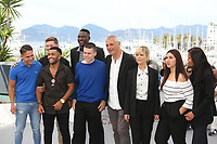 JULIEN SOUVE, FLORIAN BEAUJEAN, ISSAM TALBI, MAMADOU DOUMBIA, MATTHIEU LUCCI, DIRECTOR LAURENT CANTET, MARINA FOIS, WARDA RAMMACH AND MELISSA GUILBERT - PHOTOCALL OF THE FILM 'L'ATELIER' AT THE 70TH FESTIVAL OF CANNES 2017