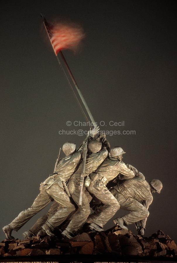 Arlington, Virginia.  Iwo Jima Memorial to the U.S. Marines.