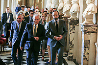VISITE D ë EDOUARD PHILIPPE , PREMIER MINISTRE , ET DE NICOLE BELLOUBET , GARDE DES SCEAUX , MINISTRE DE LA JUSTICE AU PALAIS DE JUSTICE DE PARIS .<br /> A GAUCHE , BERTRAND LOUVEL , PREMIER PR…SIDENT DE LA COUR DE CASSATION