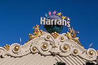 Las Vegas, Nevada.  Emblem with Jesters above the Entrance to Harrah's Casino.