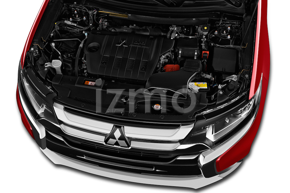 Car Stock 2016 Mitsubishi Outlander Intense Premium 5 Door SUV Engine  high angle detail view