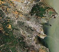 aerial map view above Marin county eastern shoreline Point San Pedro San Rafael California