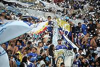 BOGOTA - COLOMBIA -14 -03-2015: Hinchas de Millonarios animan a su equipo durante partido entre Millonarios e Independiente Santa Fe por la fecha 10 de la Liga Aguila I-2015, jugado en el estadio Nemesio Camacho El Campin de la ciudad de Bogota.   /Fans of Millonarios cheer for their team during a match between Millonarios and Independiente Santa Fe for the date 10 of the Liga Aguila I-2015 at the Nemesio Camacho El Campin Stadium in Bogota city, Photo: VizzorImage / Luis Ramirez / Staff.