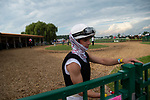 Jockey Florent Geroux heads back to the paddock after riding Lady Kate to a victory in the ninth race at Ellis Park in Henderson, Ky., Sunday afternoon, Aug. 9, 2020.