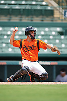 GCL Orioles catcher Jose Montanez (37) throws back to the pitcher during a game against the GCL Rays on July 21, 2017 at Ed Smith Stadium in Sarasota, Florida.  GCL Orioles defeated the GCL Rays 9-0.  (Mike Janes/Four Seam Images)