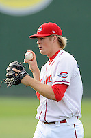 Pitcher Ty Buttrey (47) of the Greenville Drive warms up before a game against the Lexington Legends on Tuesday, April 14, 2015, at Fluor Field at the West End in Greenville, South Carolina. Buttrey was a fourth-round pick of the Boston Red Sox in the 2012 First-Year Player Draft. Lexington won, 5-3. (Tom Priddy/Four Seam Images)