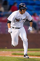 Shortstop Sergio Miranda (1) of the Winston-Salem Warthogs hustles down the first base line versus the Salem Avalanche at Ernie Shore Field in Winston-Salem, NC, Friday April 11, 2008.