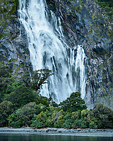 Bowen Falls in Milford Sound, Fiordland National Park, Southland, World Heritage Area, South Island, New Zealand