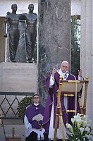 Pope Francis during a mass at the U.S. World War II cemetery in Nettuno, near Rome. on the day Christians around the world commemorate their dead, on November 2, 2017