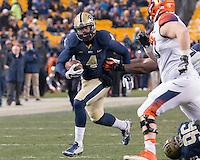 Pitt linebacker Bam Bradley (4) returns an interception. The Pitt Panthers defeated the Syracuse Orange 30-7 at Heinz Field, Pittsburgh, Pennsylvania on November 22, 2014.