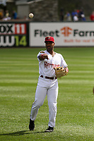 Wisconsin Timber Rattlers third baseman Zavier Warren (13) warms up in the outfield prior to a game against the Cedar Rapids Kernels on September 8, 2021 at Neuroscience Group Field at Fox Cities Stadium in Grand Chute, Wisconsin.  (Brad Krause/Four Seam Images)