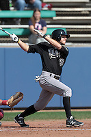 Matt Russell #33 of the Cal Poly Mustangs bats against the Loyola Marymount Lions at Page Stadium on February 25, 2012 in Los Angeles,California. Cal Poly defeated LMU 12-5.(Larry Goren/Four Seam Images)
