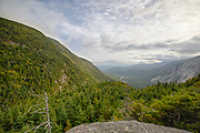 Franconia Notch in the White Mountains of New Hampshire USA from Eagle Cliff during the summer months.